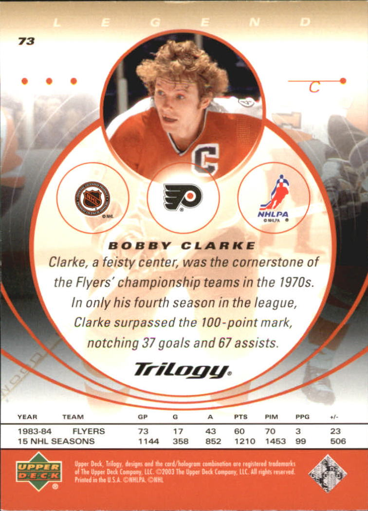 2003-04 Upper Deck Trilogy #73 Bobby Clarke back image