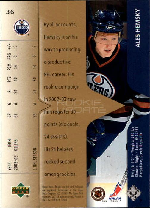 2003-04 Upper Deck Rookie Update #36 Ales Hemsky back image