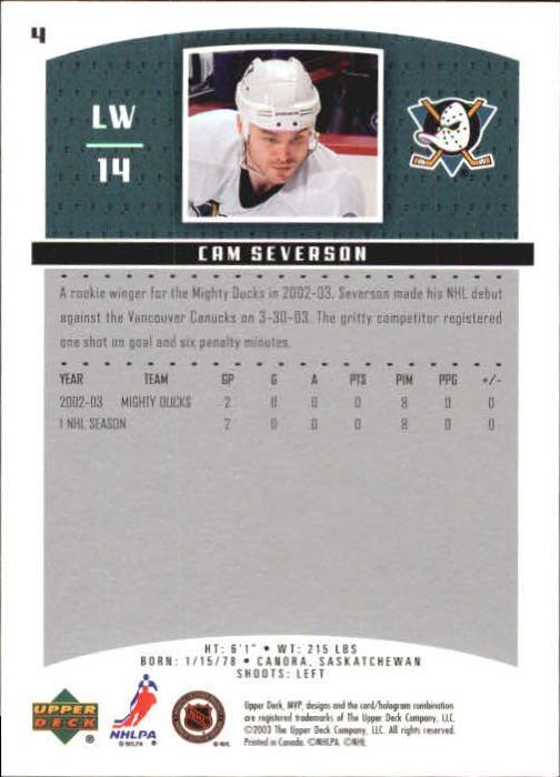 2003-04 Upper Deck MVP #4 Cam Severson back image