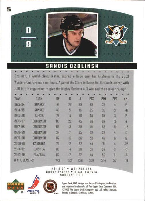 2003-04 Upper Deck MVP #5 Sandis Ozolinsh back image