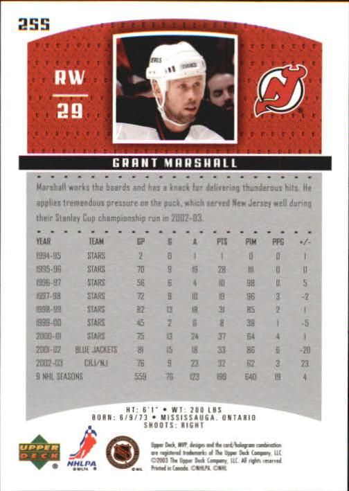 2003-04 Upper Deck MVP #255 Grant Marshall back image