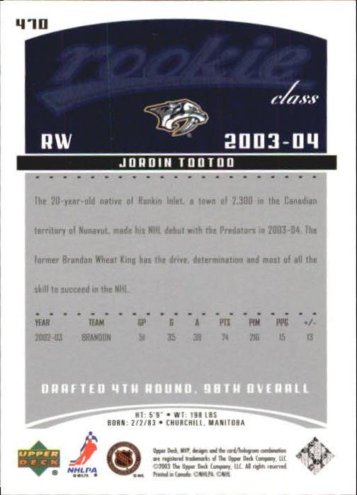 2003-04 Upper Deck MVP #470 Jordin Tootoo RC back image