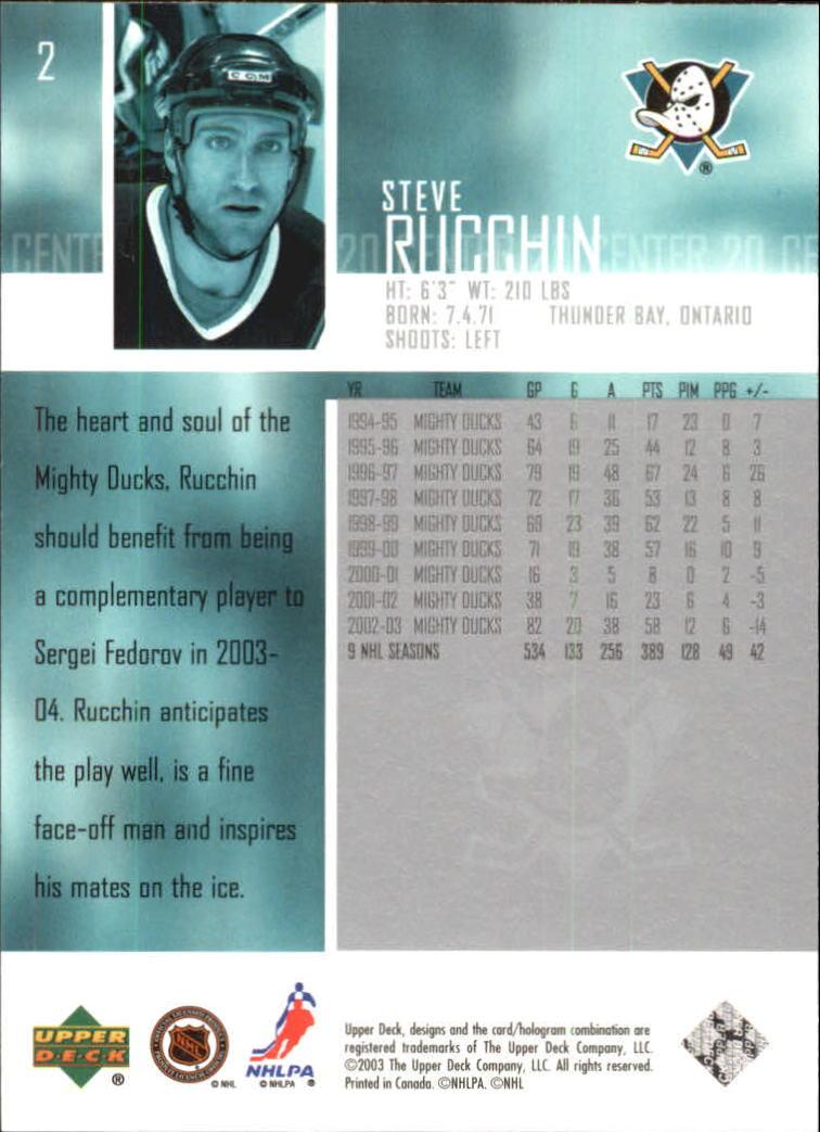 2003-04 Upper Deck #2 Steve Rucchin back image