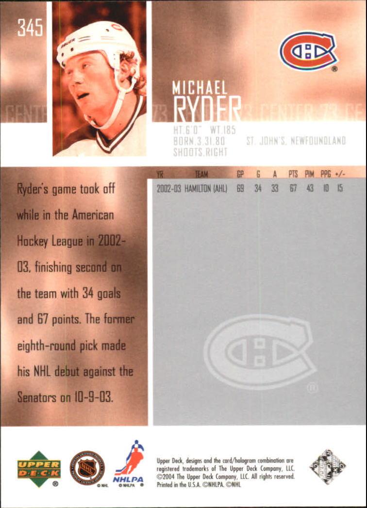 2003-04 Upper Deck #345 Michael Ryder back image
