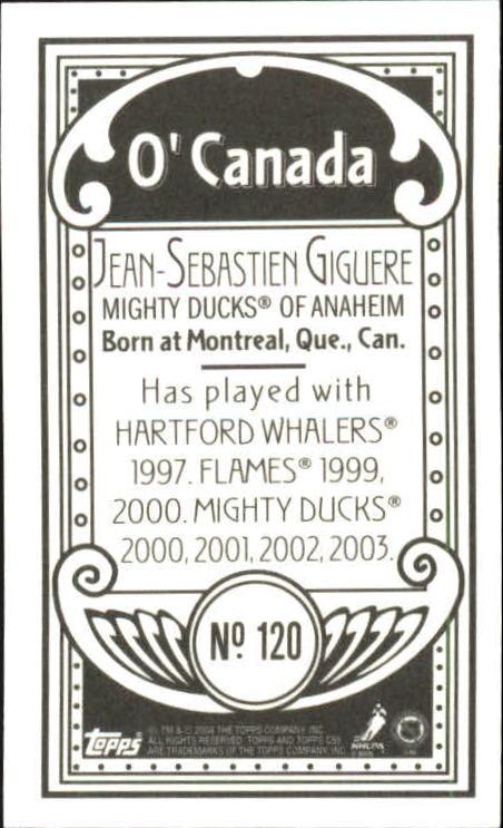 2003-04 Topps C55 Minis O Canada Back #120 Jean-Sebastien Giguere back image