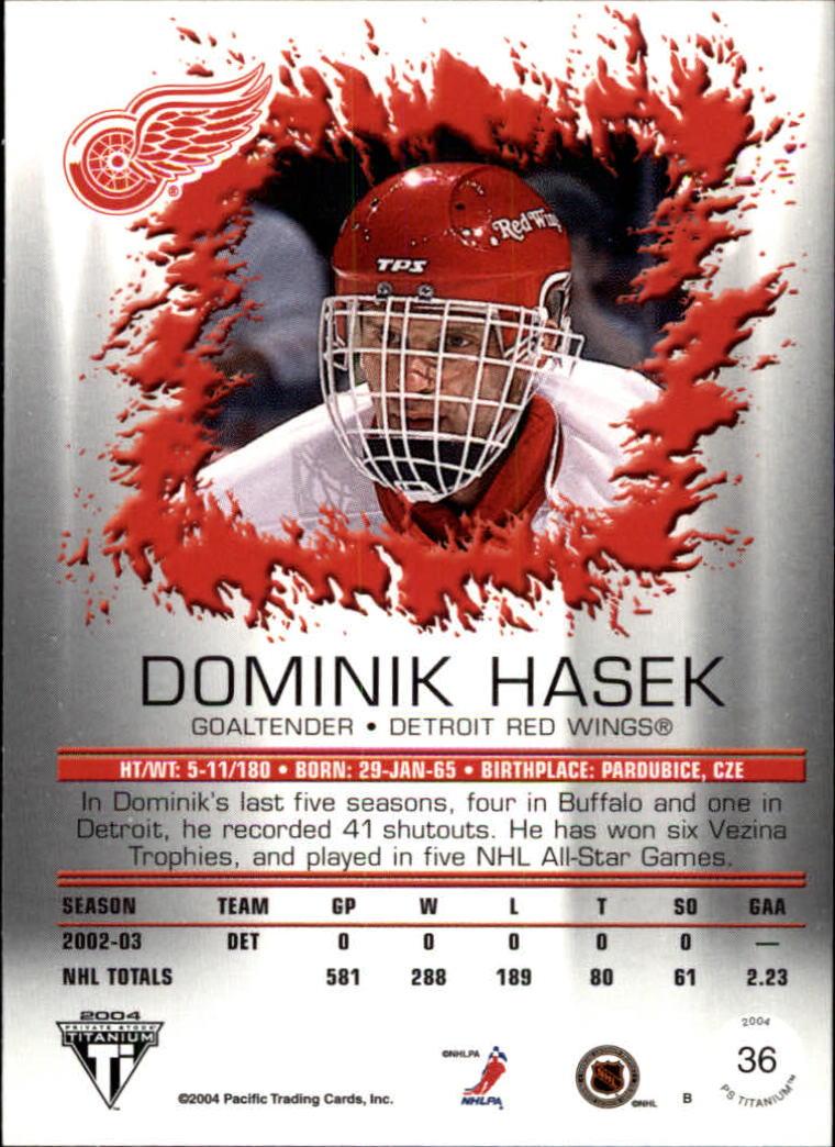 2003-04 Titanium #36 Dominik Hasek back image