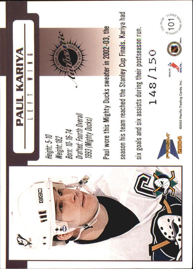 2003-04 Pacific Prism Retail Jerseys #101 Paul Kariya back image