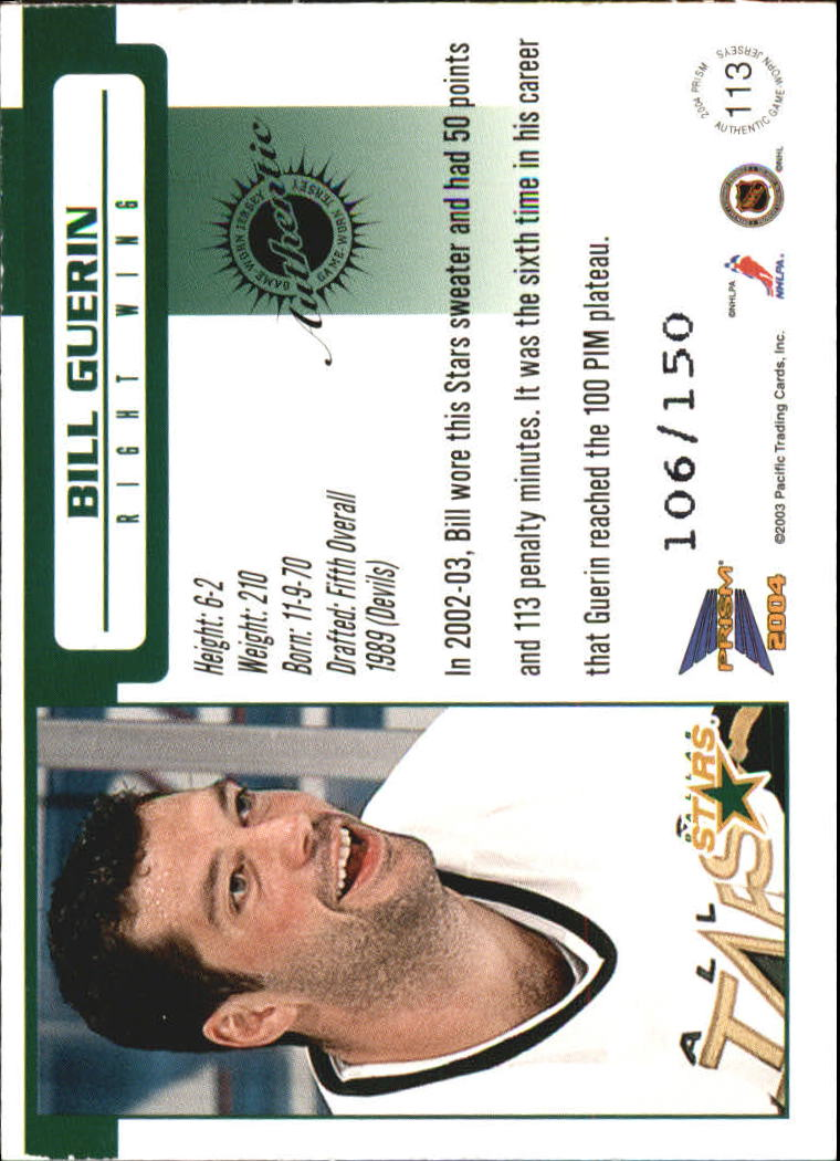 2003-04 Pacific Prism Retail Jerseys #113 Bill Guerin back image