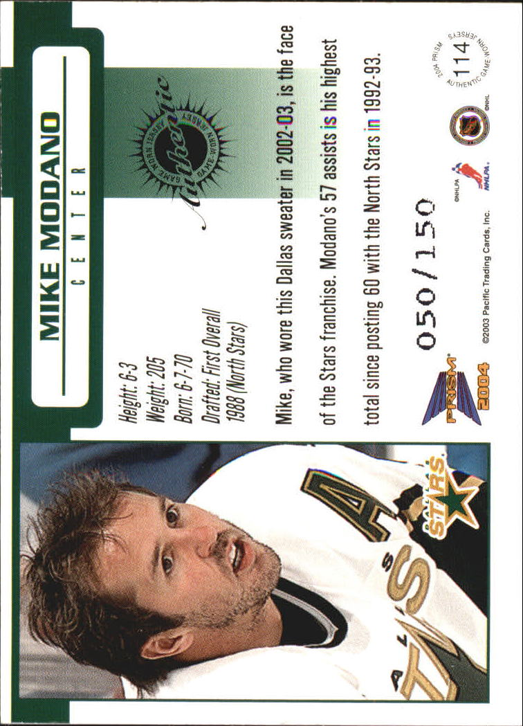 2003-04 Pacific Prism Retail Jerseys #114 Mike Modano back image