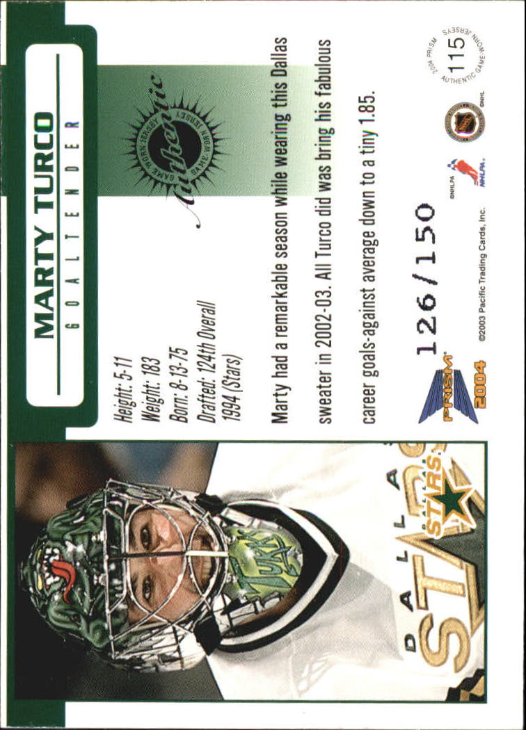 2003-04 Pacific Prism Retail Jerseys #115 Marty Turco back image
