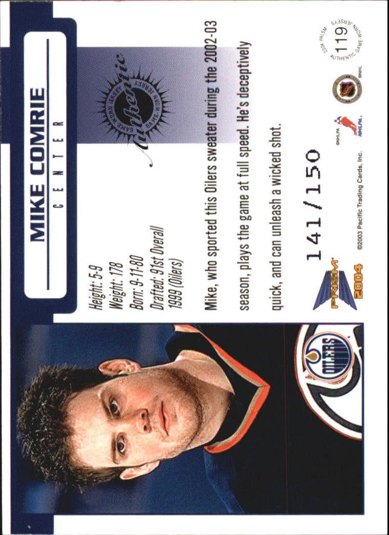 2003-04 Pacific Prism Retail Jerseys #119 Mike Comrie back image