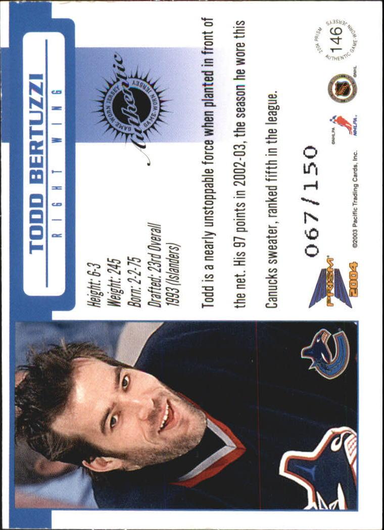 2003-04 Pacific Prism Retail Jerseys #146 Todd Bertuzzi back image