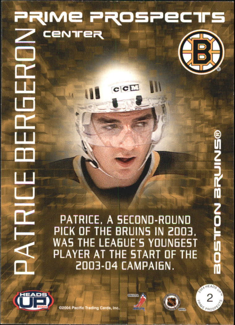 2003-04 Pacific Heads Up Prime Prospects #2 Patrice Bergeron back image