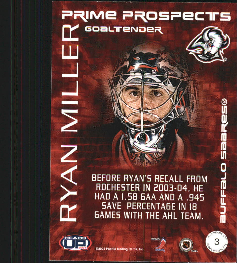 2003-04 Pacific Heads Up Prime Prospects #3 Ryan Miller back image