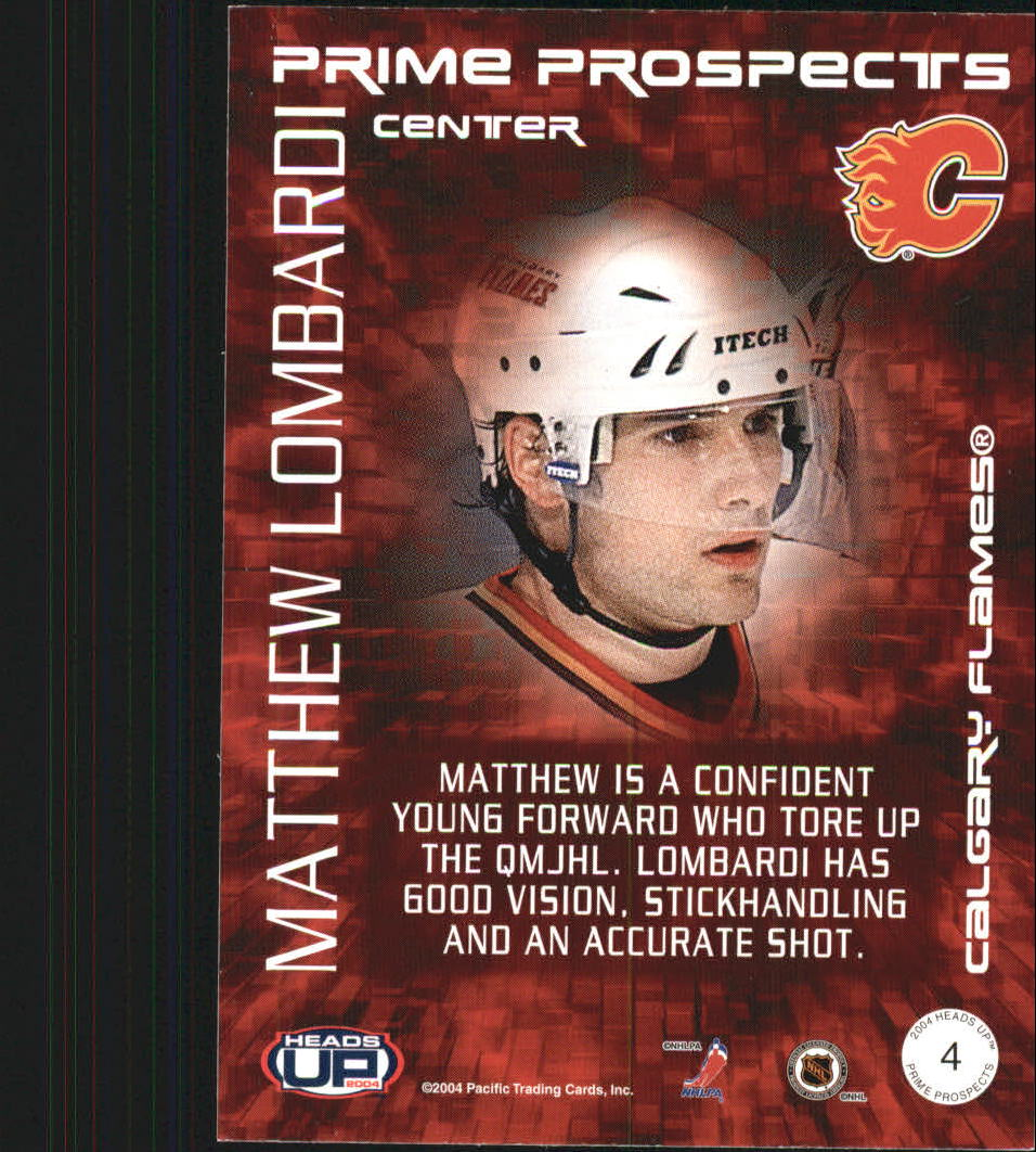2003-04 Pacific Heads Up Prime Prospects #4 Matthew Lombardi back image