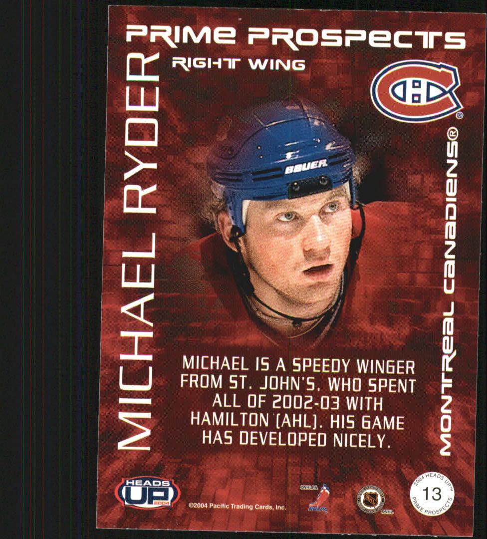 2003-04 Pacific Heads Up Prime Prospects #13 Michael Ryder back image