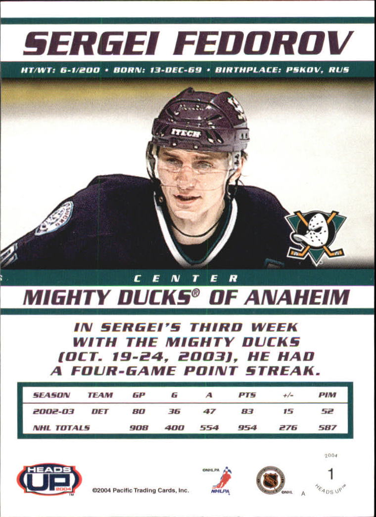 2003-04 Pacific Heads Up #1 Sergei Fedorov back image