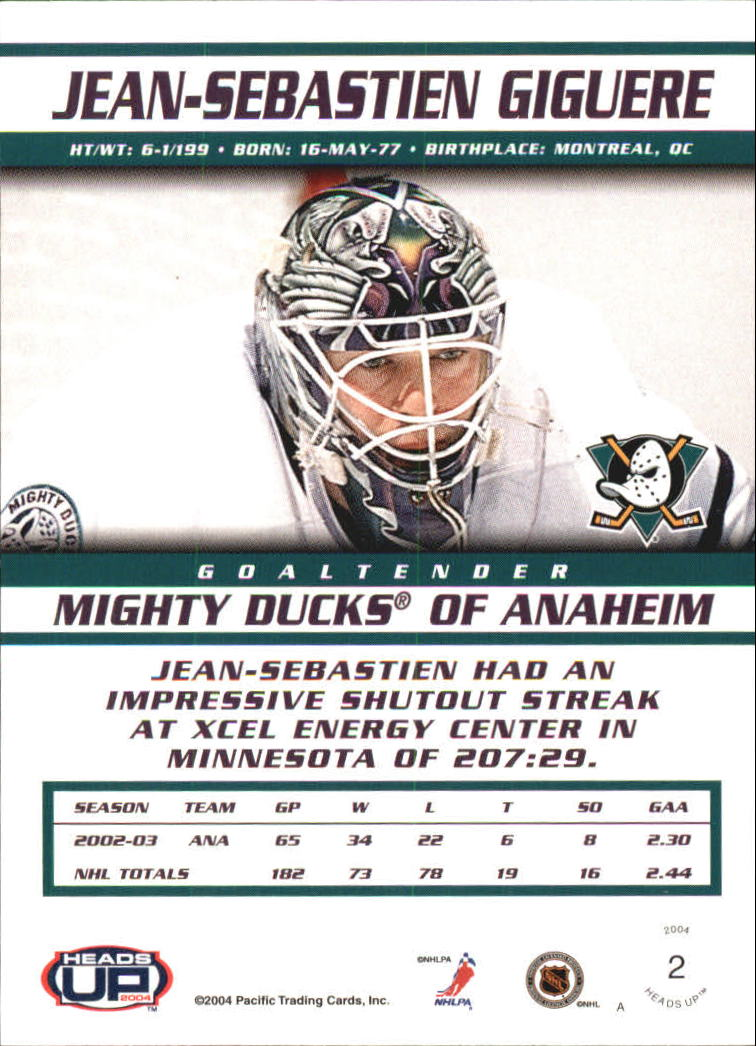 2003-04 Pacific Heads Up #2 Jean-Sebastien Giguere back image