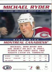 2003-04 Pacific Heads Up #54 Michael Ryder UER back image
