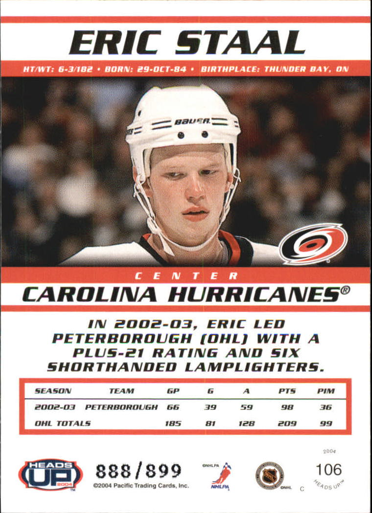 2003-04 Pacific Heads Up #106 Eric Staal RC back image