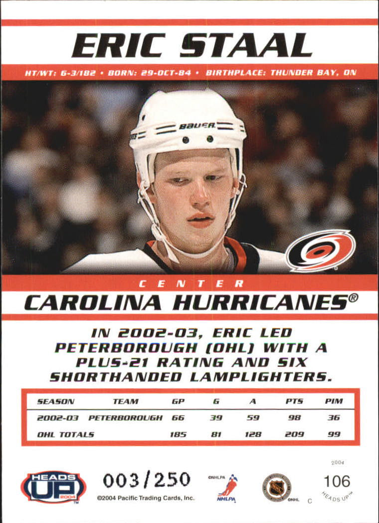 2003-04 Pacific Heads Up Hobby LTD #106 Eric Staal back image