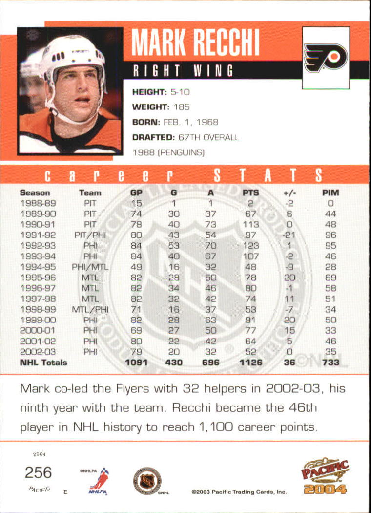 2003-04 Pacific #256 Mark Recchi back image