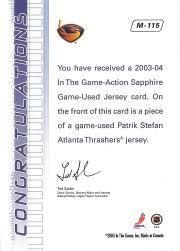 2003-04 ITG Action Jerseys #M115 Patrik Stefan back image