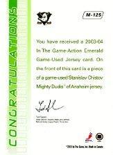 2003-04 ITG Action Jerseys #M125 Stanislav Chistov back image