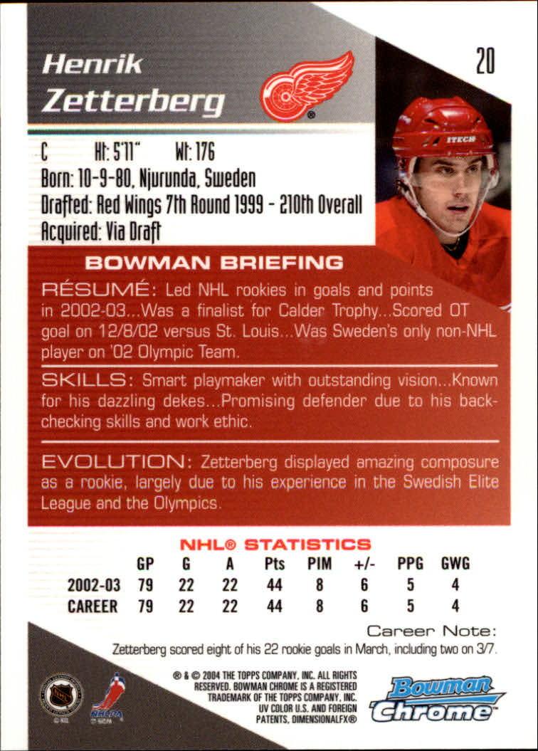 2003-04 Bowman Chrome #20 Henrik Zetterberg back image