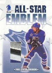 2003-04 BAP Memorabilia All-Star Emblems #ASE6 Peter Forsberg