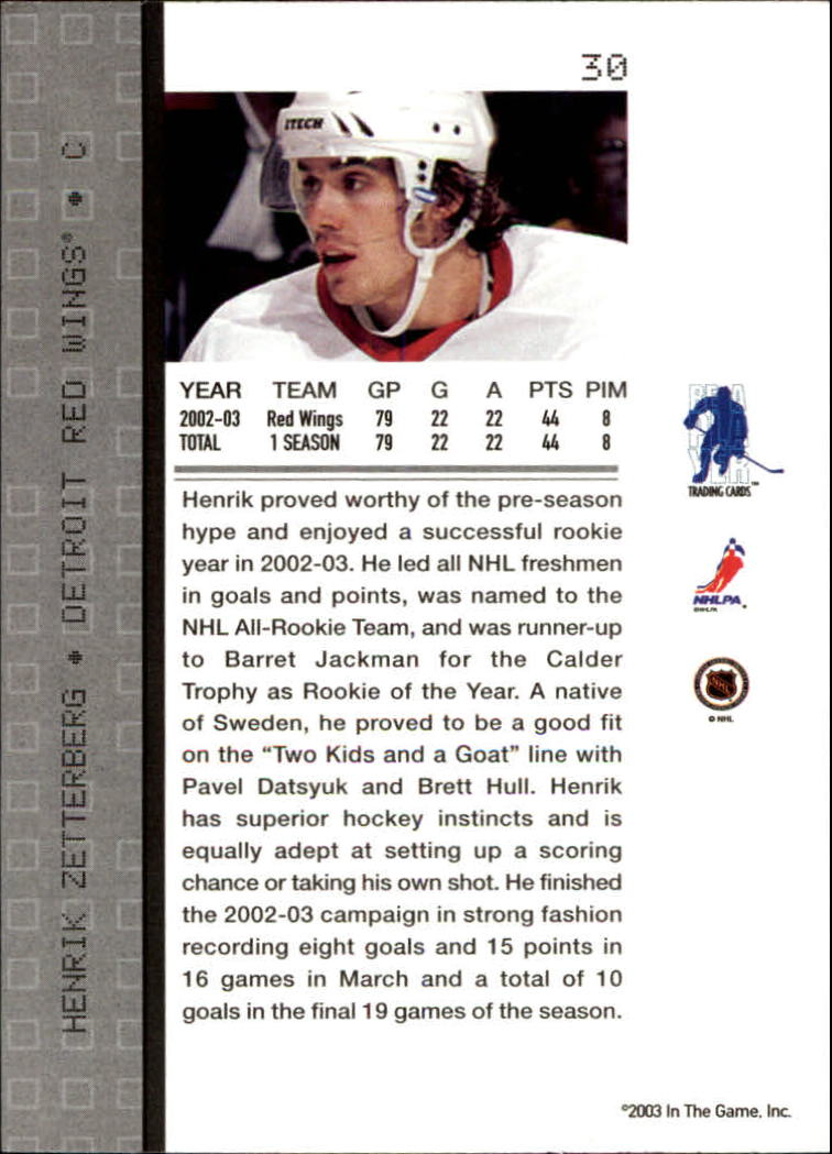 2003-04 BAP Memorabilia #30 Henrik Zetterberg back image