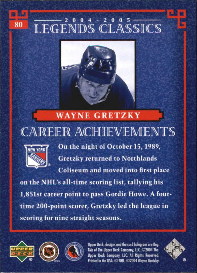 2004-05 UD Legends Classics #80 Wayne Gretzky back image