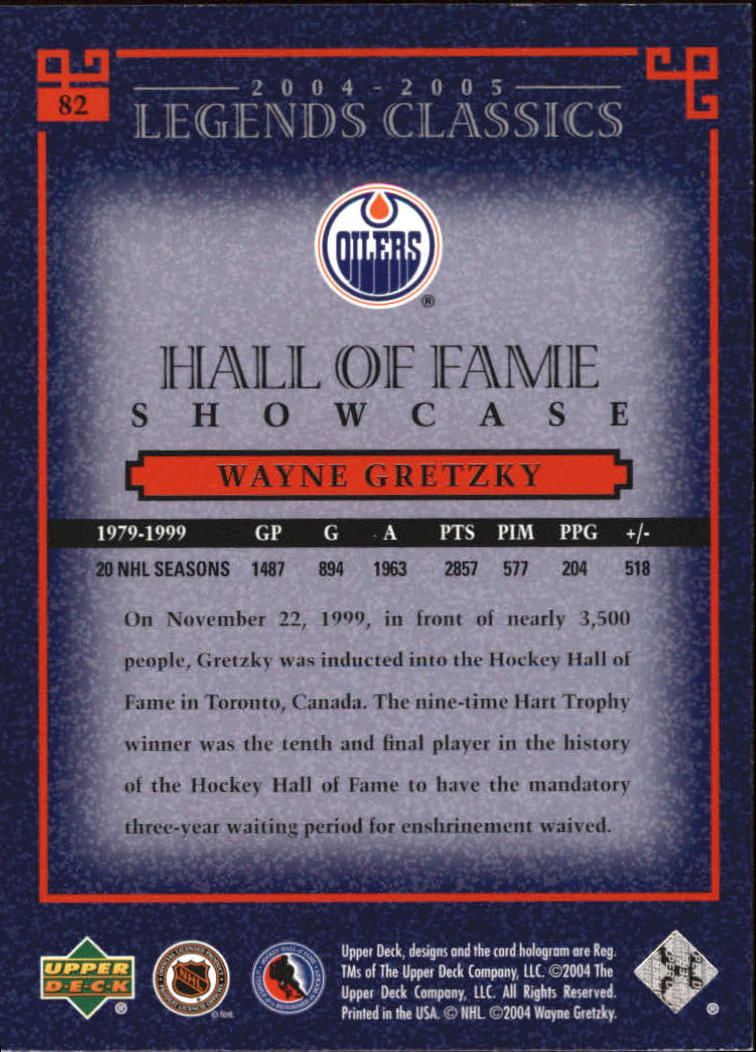 2004-05 UD Legends Classics #82 Wayne Gretzky back image