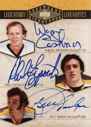 2004-05 UD Legendary Signatures Linemates #WCPEKH Wayne Cashman/Phil Esposito/Ken Hodge
