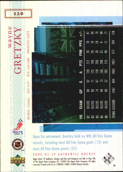 2004-05 SP Authentic #129 Wayne Gretzky AW back image