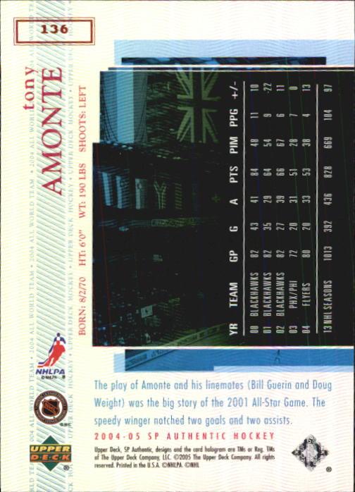 2004-05 SP Authentic #136 Tony Amonte AW back image