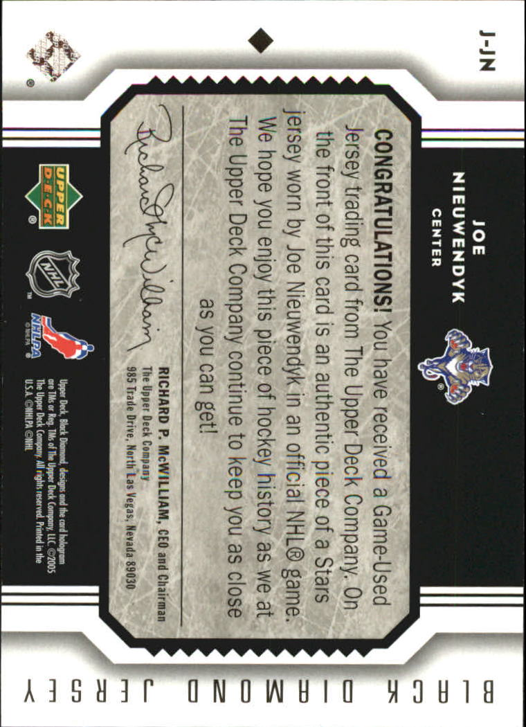 2005-06 Black Diamond Jerseys #JJN Joe Nieuwendyk back image