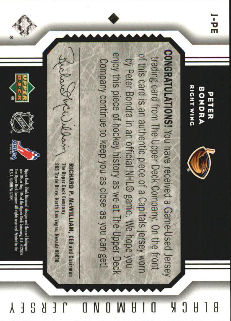 2005-06 Black Diamond Jerseys #JPE Peter Bondra back image