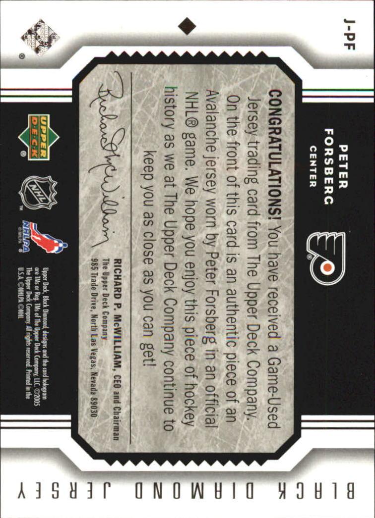 2005-06 Black Diamond Jerseys #JPF Peter Forsberg back image