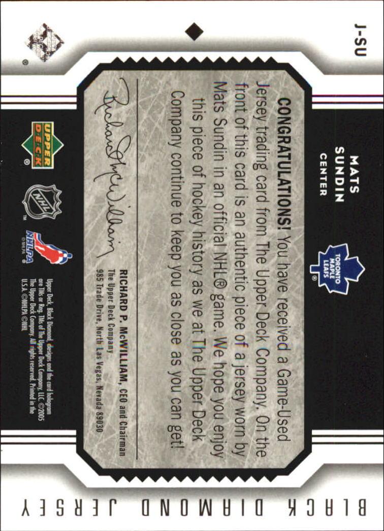 2005-06 Black Diamond Jerseys #JSU Mats Sundin back image