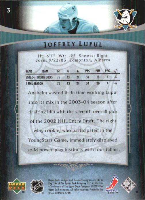 2005-06 Artifacts #3 Joffrey Lupul back image