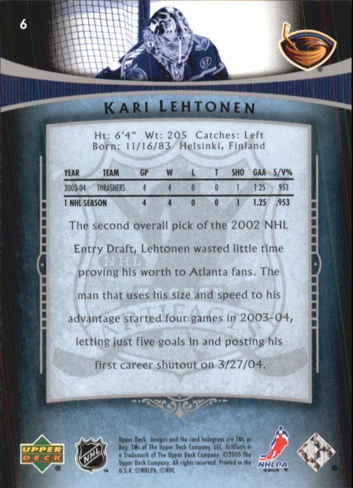 2005-06 Artifacts #6 Kari Lehtonen back image