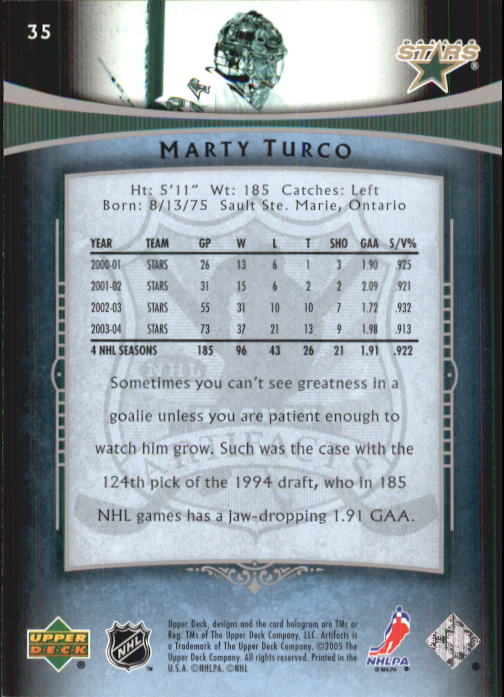 2005-06 Artifacts #35 Marty Turco back image