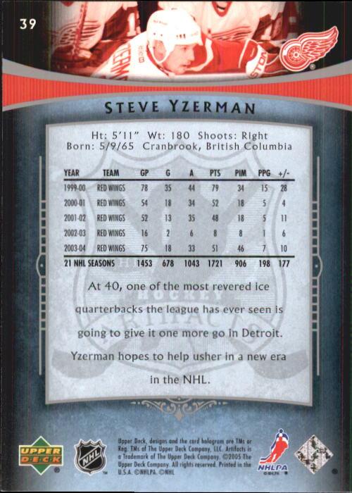 2005-06 Artifacts #39 Steve Yzerman back image