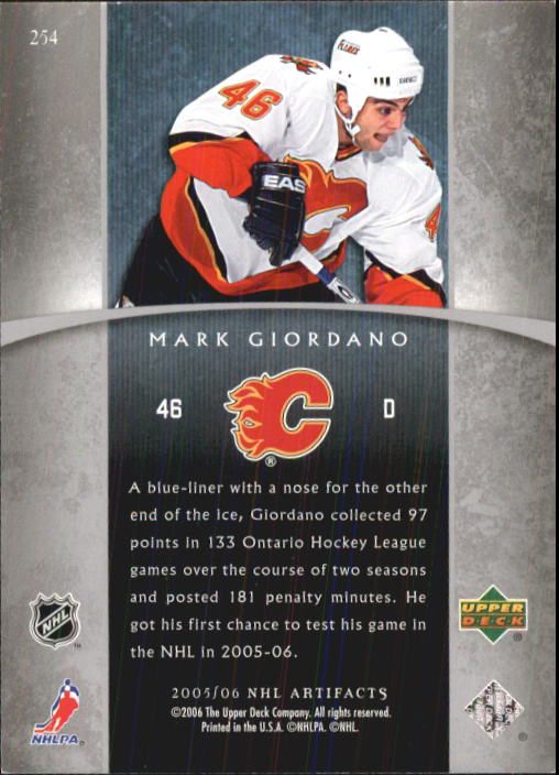 2005-06 Artifacts #254 Mark Giordano RC back image