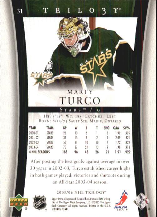 2005-06 Upper Deck Trilogy #31 Marty Turco back image