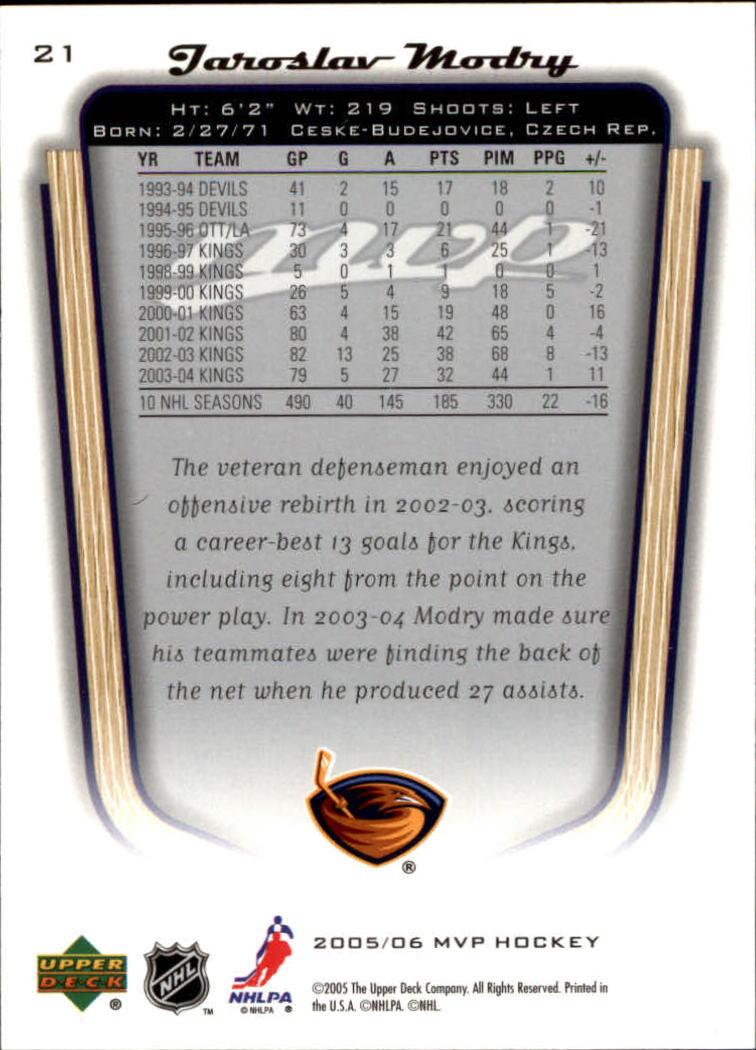 2005-06 Upper Deck MVP #21 Jaroslav Modry back image