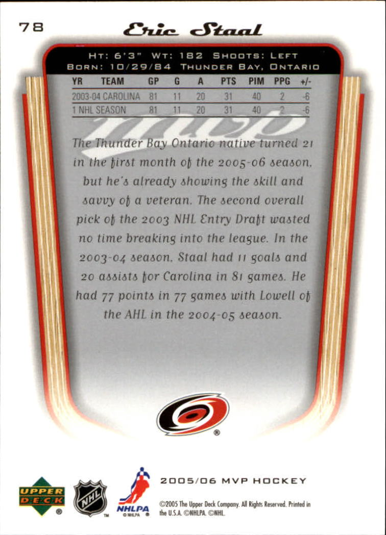 2005-06 Upper Deck MVP #78 Eric Staal back image