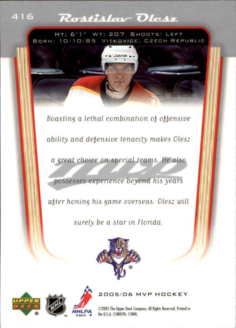 2005-06 Upper Deck MVP #416 Rostislav Olesz RC back image