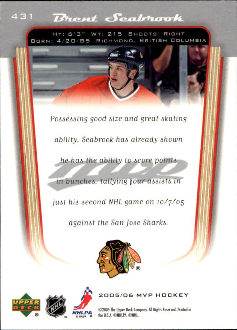 2005-06 Upper Deck MVP #431 Brent Seabrook RC back image